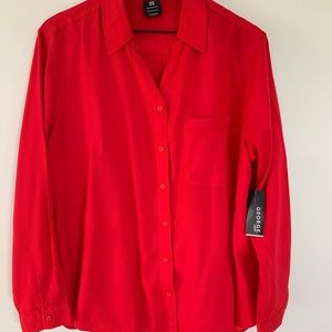 Button down bright red blouse